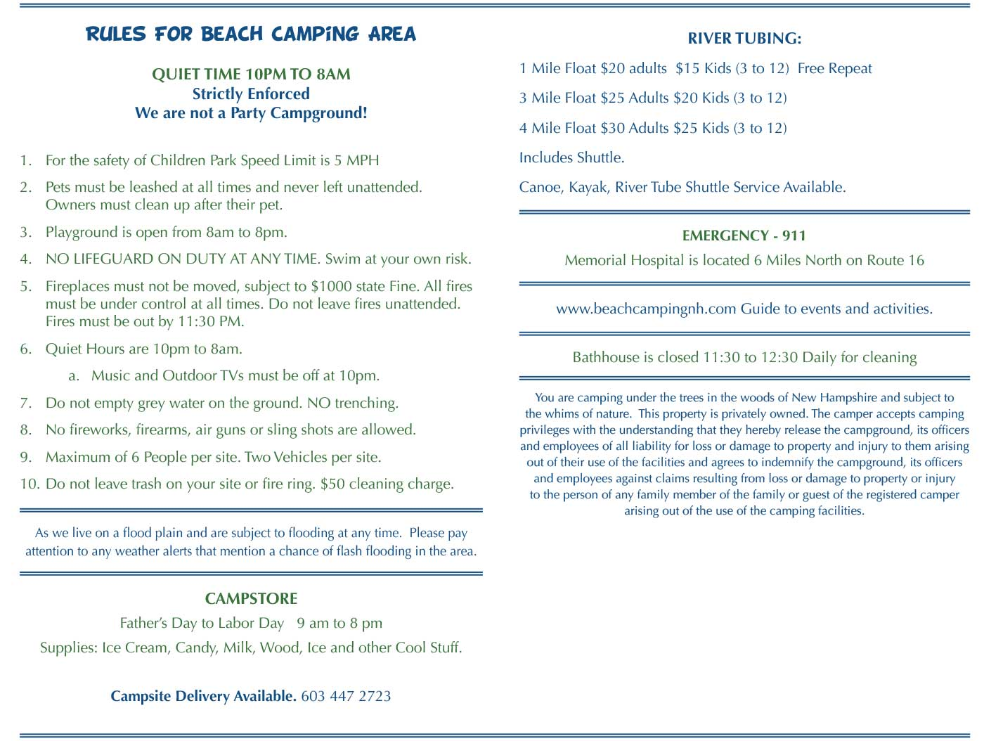 beach campground rules policies